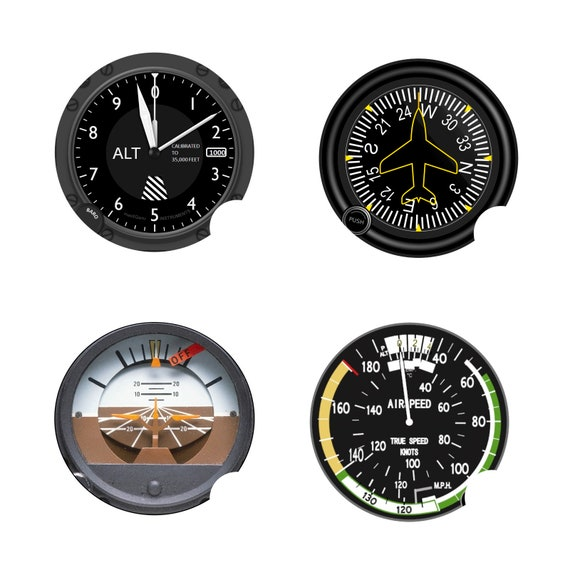 Altimeter Airspeed Attitude Direction Aviation Round Sandstone Car Cupholder Coaster Set (4)