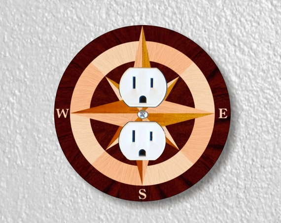 Nautical Compass Precision Laser Cut Duplex and Grounded Outlet Round Wall Plate Covers