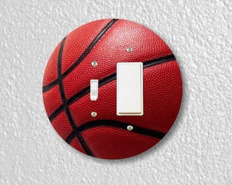Burgundy Basketball Sport Round Toggle and Decora Rocker Switch Plate Cover
