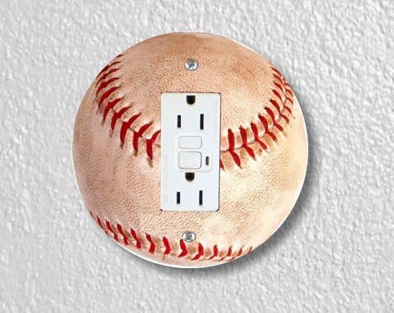 Baseball Ball Sport Round Grounded GFI Outlet Plate Cover