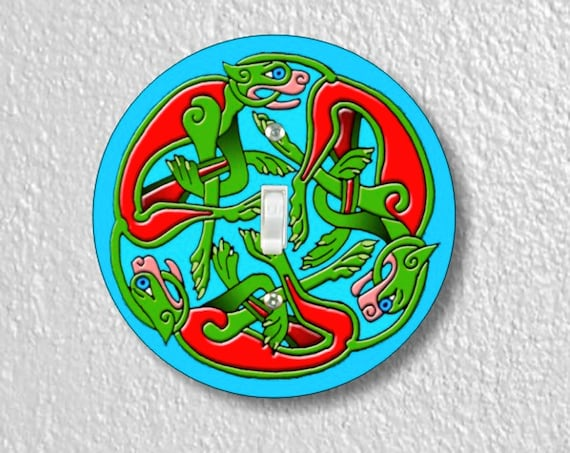 Precision Laser Cut Toggle And Decora Rocker Round Light Switch Plate Covers - Celtic Dragon - Home Decor - Wallplates