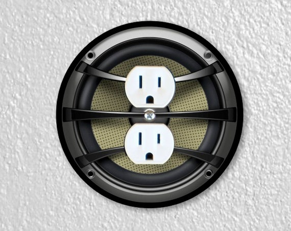 Precision Laser Cut Duplex And Grounded Outlet Round Plate Covers - Audio Music Speaker - Home Decor - Wall Decor - Wallplates
