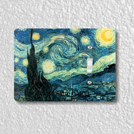 Precision Laser Cut Toggle And Decora Rocker Light Switch Plate Covers - Starry Night Van Gogh Art Painting - Home Decor - Wallplates