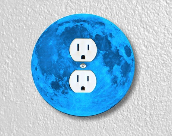 Precision Laser Cut Duplex And Grounded Outlet Round Plate Covers - Blue Moon - Home Decor - Wall Decor-Wallplate