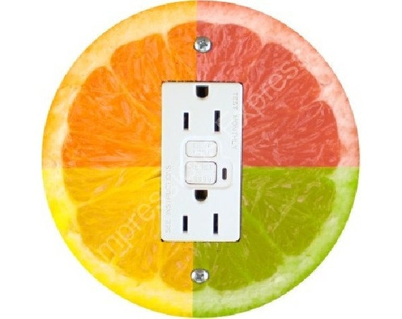 Funky Grapefruit Fruit Grounded GFI Outlet Plate Cover