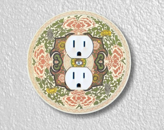 Chinese Ornament Round Duplex Outlet Plate Cover