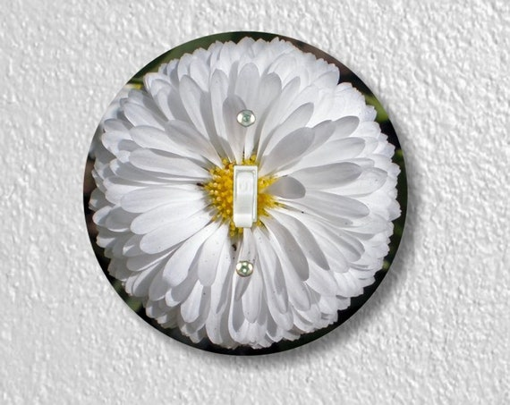 Precision Laser Cut Toggle And Decora Rocker Round Light Switch Plate Covers - White Daisy Flower - Home Decor - Wallplates