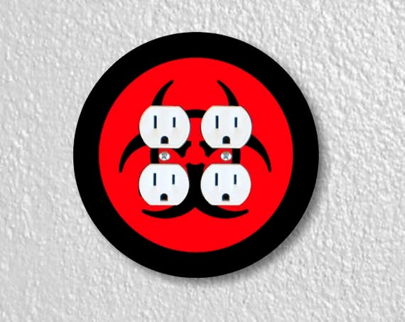 Biohazard Sign Round Double Duplex Outlet Plate Cover