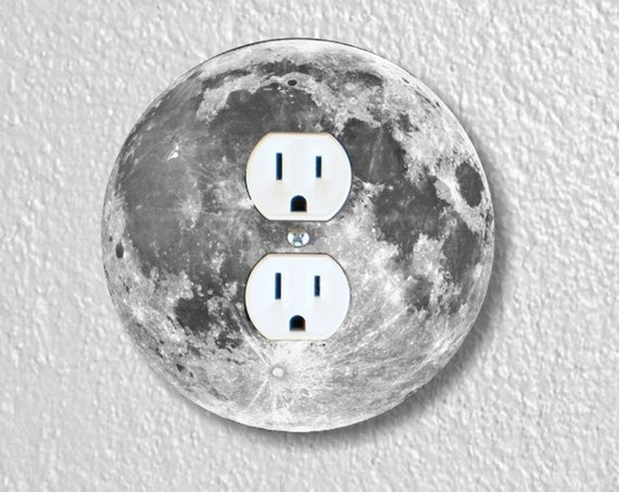 Moon From Space Precision Laser Cut Duplex and Grounded Outlet Round Wall Plate Covers