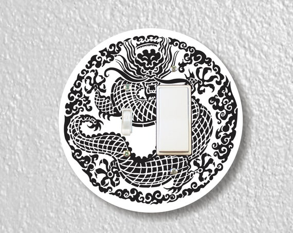 Oriental Dragon Precision Laser Cut Round Toggle and Decora Rocker Light Switch Wall Plate Cover