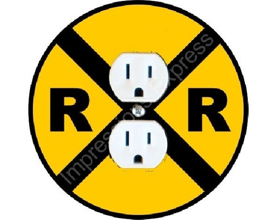 Railroad Crossing Sign Duplex Outlet Plate Cover