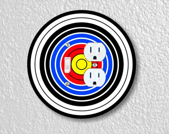Archery Target Toggle Switch and Duplex Outlet Round Double Plate Cover