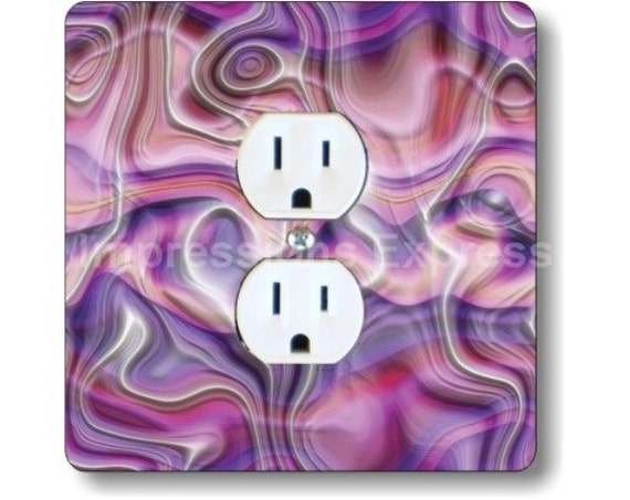 Purple Silk Ripple Square Duplex Outlet Plate Cover