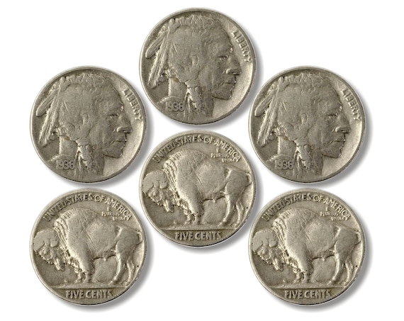 Glossy Buffalo and Indian Head Nickel Coin Cork Backed Coasters - Set of 6