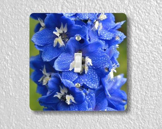 Larkspur Flower Precision Laser Cut Toggle and Decora Rocker Square Light Switch Wall Plate Covers