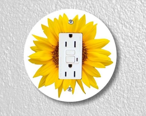 Sunflower Flower Round GFI Gounded Outlet Plate Cover
