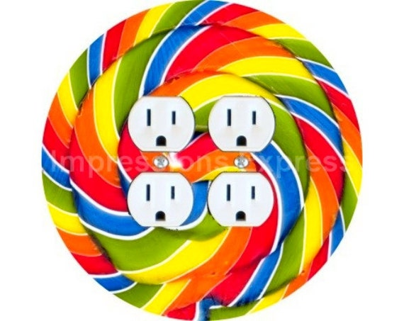 Giant Lollipop Double Duplex Outlet Plate Cover
