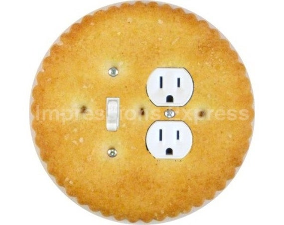 Round Cracker Toggle Switch and Duplex Outlet Double Plate Cover