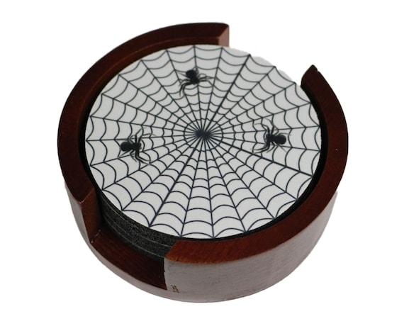 Spider Web Coaster Set of 5 with Wood Holder