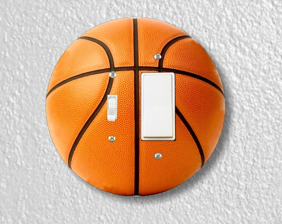 Burnt Orange Basketball Round Toggle and Decora Rocker Light Switch Plate Cover
