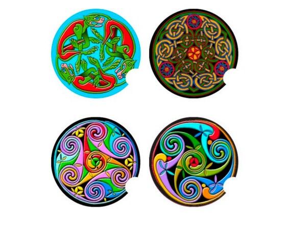 Triskelion Triskel Knot Dragon Celtic Round Sandstone Car Cupholder Coaster Set (4)