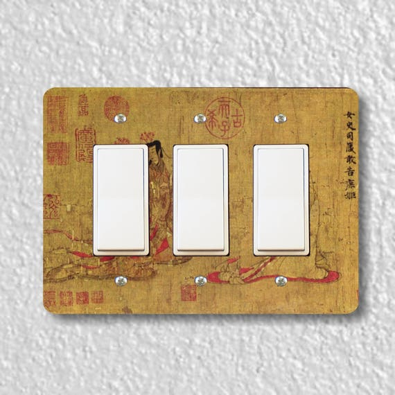 Admonitions Scroll Chinese Painting Triple Decora Rocker Light Switch Plate Cover