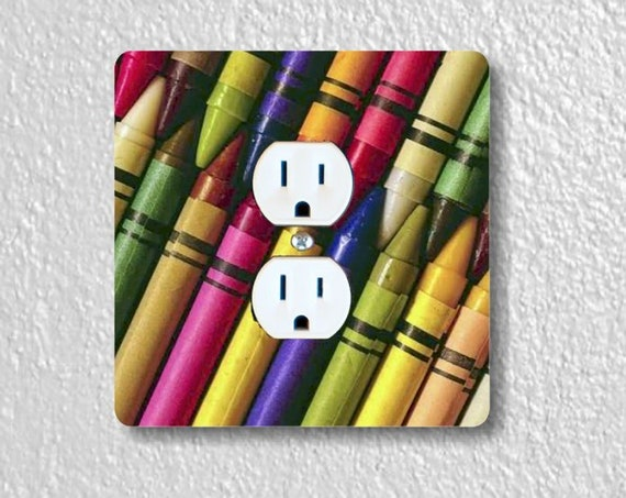 Colored Crayons Precision Laser Cut Duplex and Grounded Outlet Square Wall Plate Covers