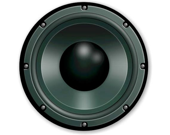 Black Music Loudspeaker Round Mousepad