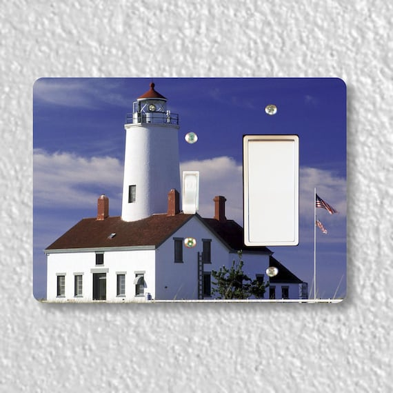 Lighthouse Nautical Precision Laser Cut Toggle and Decora Rocker Double Light Switch Wall Plate Cover