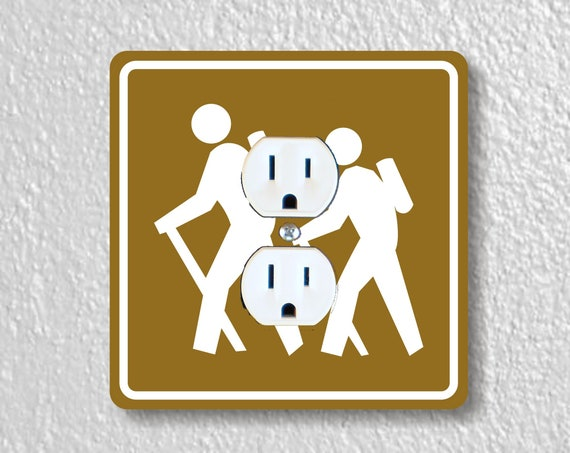 Hiking Road Sign Precision Laser Cut Duplex and Grounded Outlet Square Wall Plate Covers
