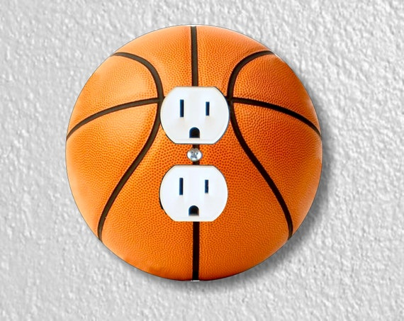 Burnt Orange Basketball Round Duplex Outlet Plate Cover