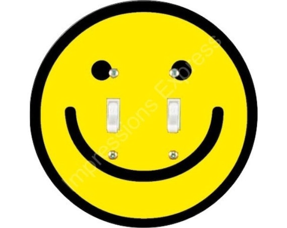 Smiley Face Double Toggle Switch Plate Cover