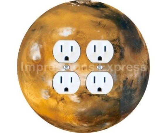 Planet Mars Space Double Duplex Outlet Plate Cover