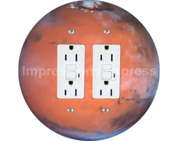 Red Planet Mars Space Double GFI Outlet Plate Cover