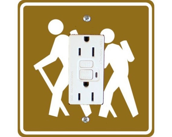 Hiking Road Sign Square GFI Outlet Plate Cover