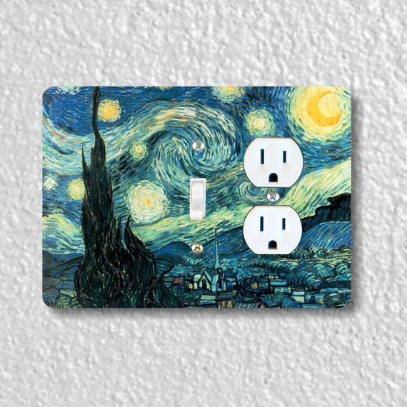 Precision Laser Cut Toggle Light Switch and Duplex Outlet Double Plate Cover - Starry Night Van Gogh Painting - Home Decor - wallplate