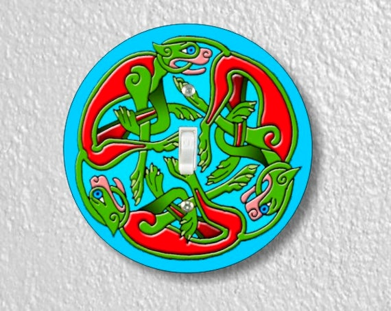 Celtic Dragon Round Single Toggle Light Switch Plate Cover