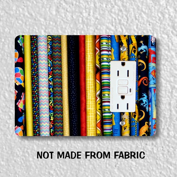 Quilt Fabric GFI Grounded Outlet Plate Cover