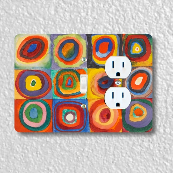 Precision Laser Cut Toggle Switch and Duplex Outlet Double Plate Cover - Kandinsky Squares With Concentric Circles Painting - Wallplates