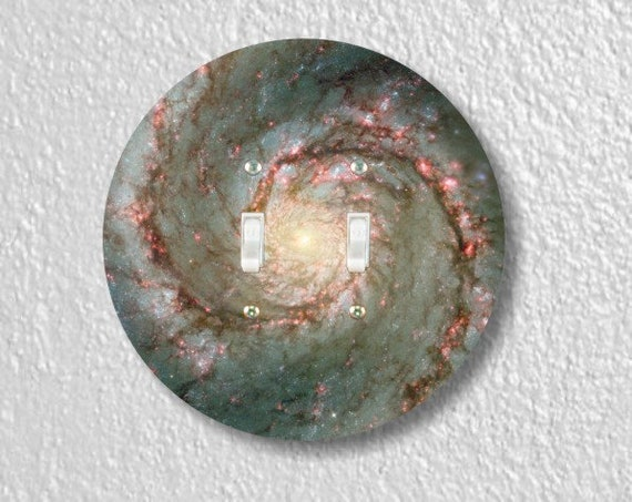 Whirlpool Galaxy Space Round Double Toggle Light Switch Plate Cover