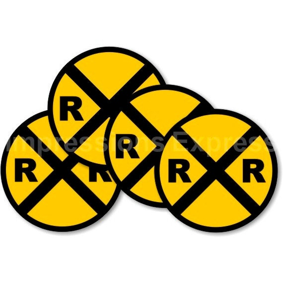 Railroad Crossing Sign Coasters - Set of 4