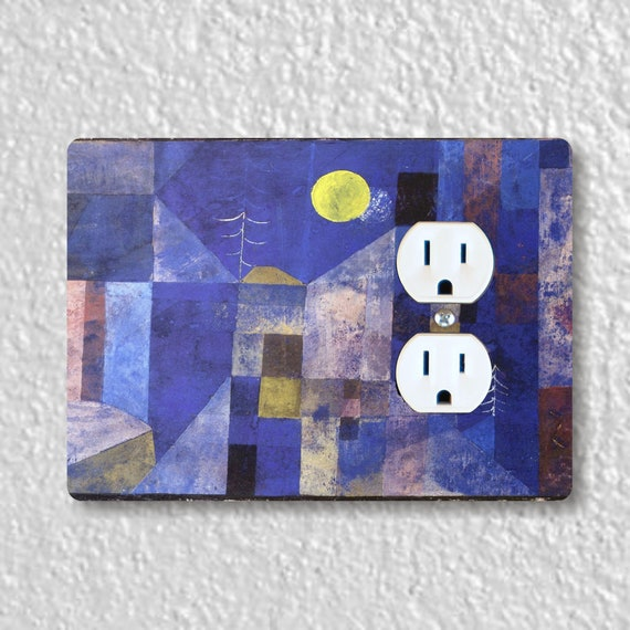 Paul Klee Moonlight Painting Precision Laser Cut Duplex and Grounded Outlet Wall Plate Covers