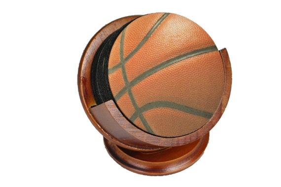 Burgundy Basketball Coaster Set of 8 Neoprene Backed with Cherry Colored Pedestal Wood Holder