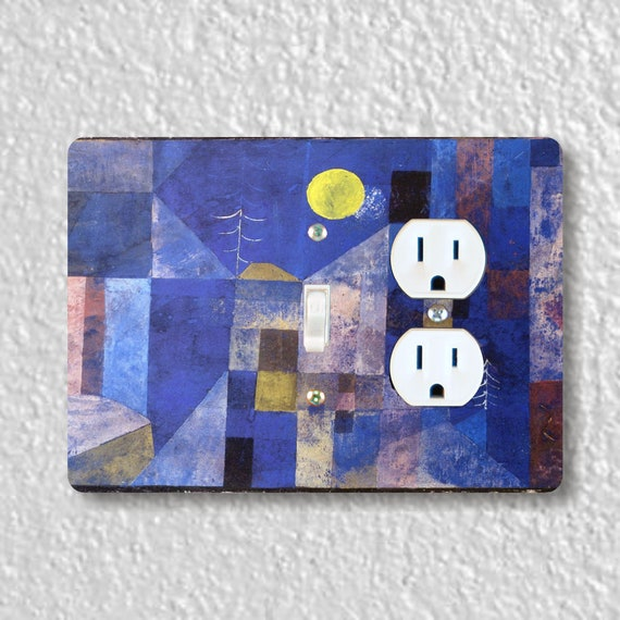 Paul Klee Moonlight Painting - Precision Laser Cut Toggle Switch and Duplex Outlet Double Plate Cover - Home Decor, Wall Plate