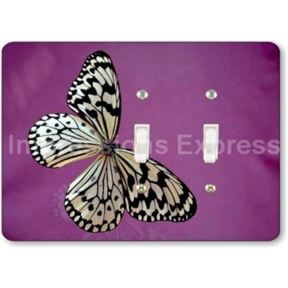 White Butterfly Insect Double Toggle Light Switch Plate Cover