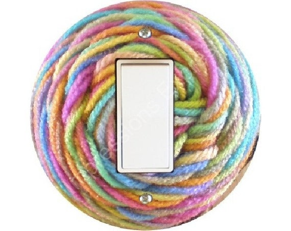 Pastel Knitting Wool Yarn Decora Rocker Switch Plate Cover