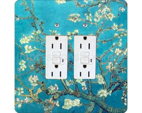 Vincent Van Gogh Almond Branches Painting Square Double Grounded GFI Outlet Plate Cover