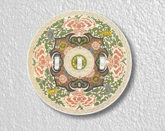Chinese Ornament Round Triple Toggle Light Switch Plate Cover