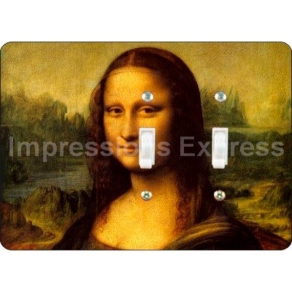 Mona Lisa Da Vinci Painting Double Toggle Light Switch Plate Cover