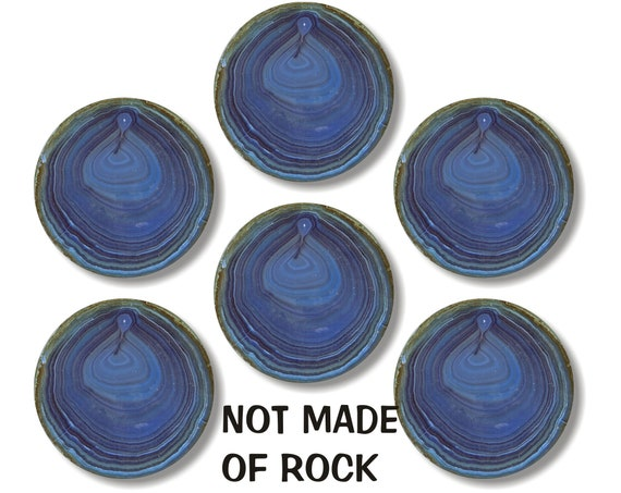 Glossy Blue Geode Stone Round Cork Backed Coasters (Set of 6)